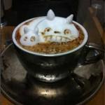 Un chat en mousse dans un café