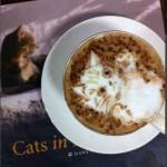 Chat dessiné dans la mousse de café