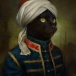 portrait chat peinture