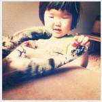 Enfant qui joue avec un chat
